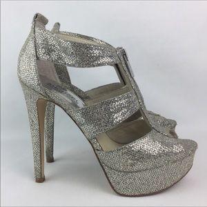 """Michael Kors """"Berkley"""" Glitter Sandal Heel 7.5"""